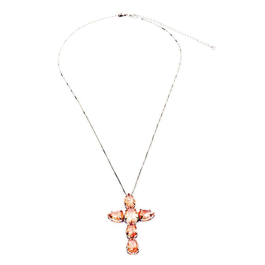 Colar Ródio Branco Crucifixo Pedra Rosa