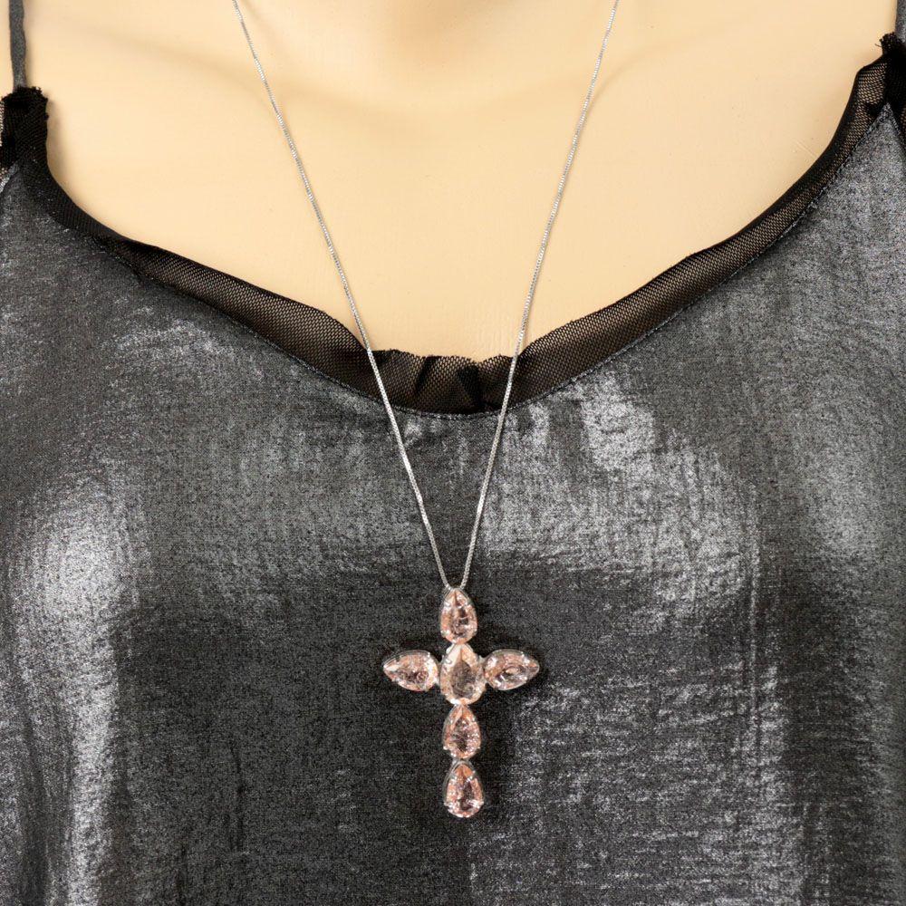 Colar Ródio Branco Crucifixo Pedra Rose
