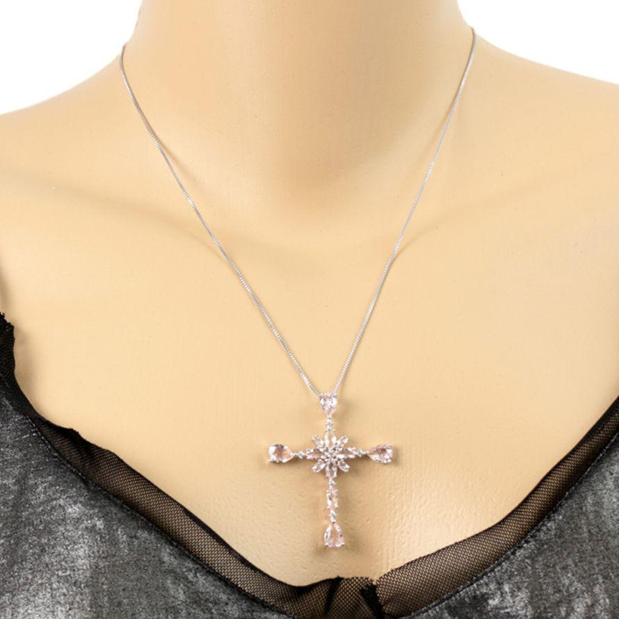 Colar Ródio Branco Pingente Crucifixo com pedra Morganita
