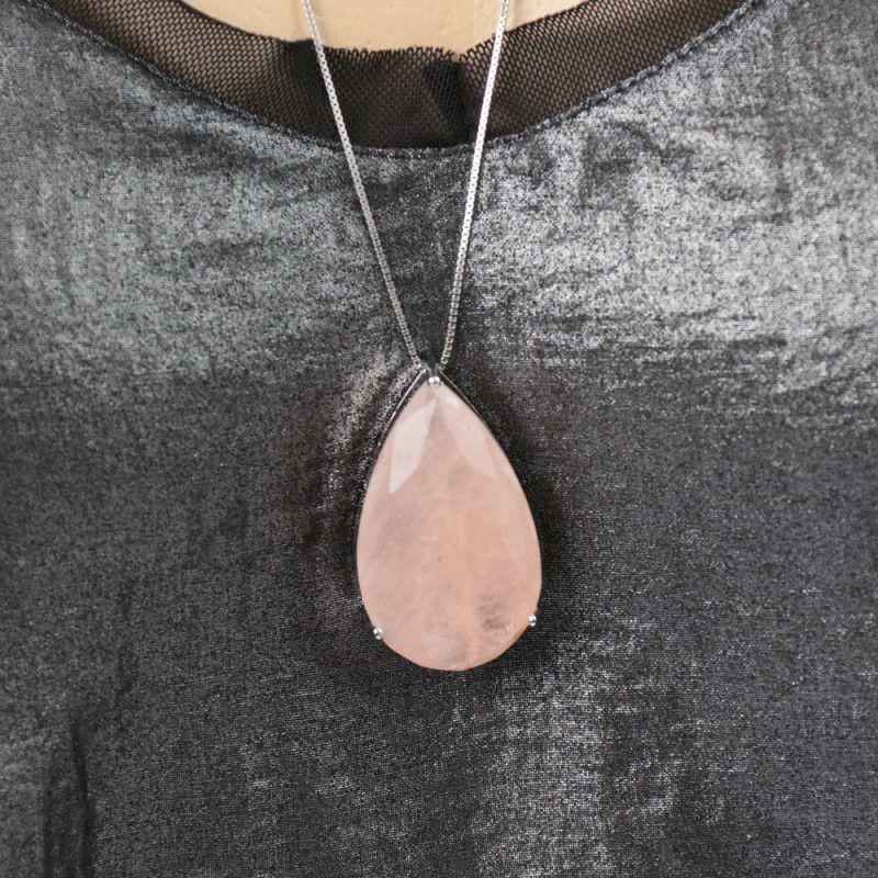 Colar Ródio Branco Pingente Gota Pedra Fusion Rosa