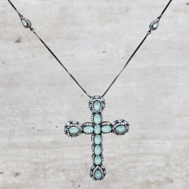 Colar Ródio Negro Crucifixo Bordado