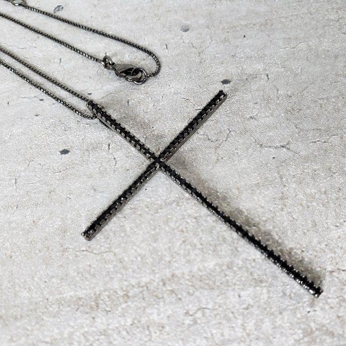 Colar Ródio Negro Crucifixo Palito