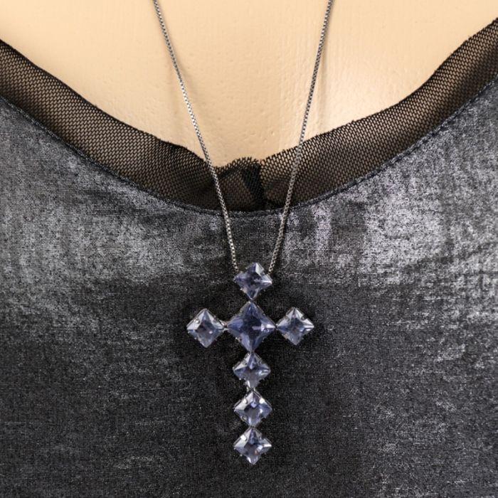 Colar Ródio Negro Crucifixo Pedra Roxo