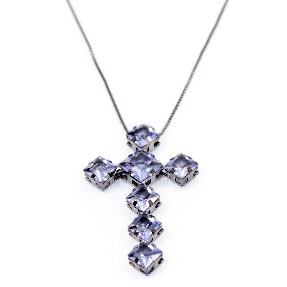 Colar Ródio Negro Crucifixo Roxo