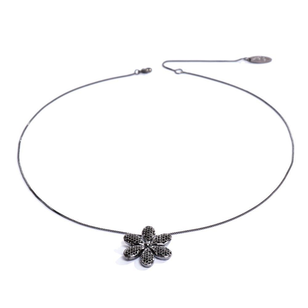 Colar Ródio Negro Flor Cravejada