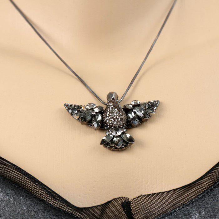 Colar Ródio Negro Pássaro