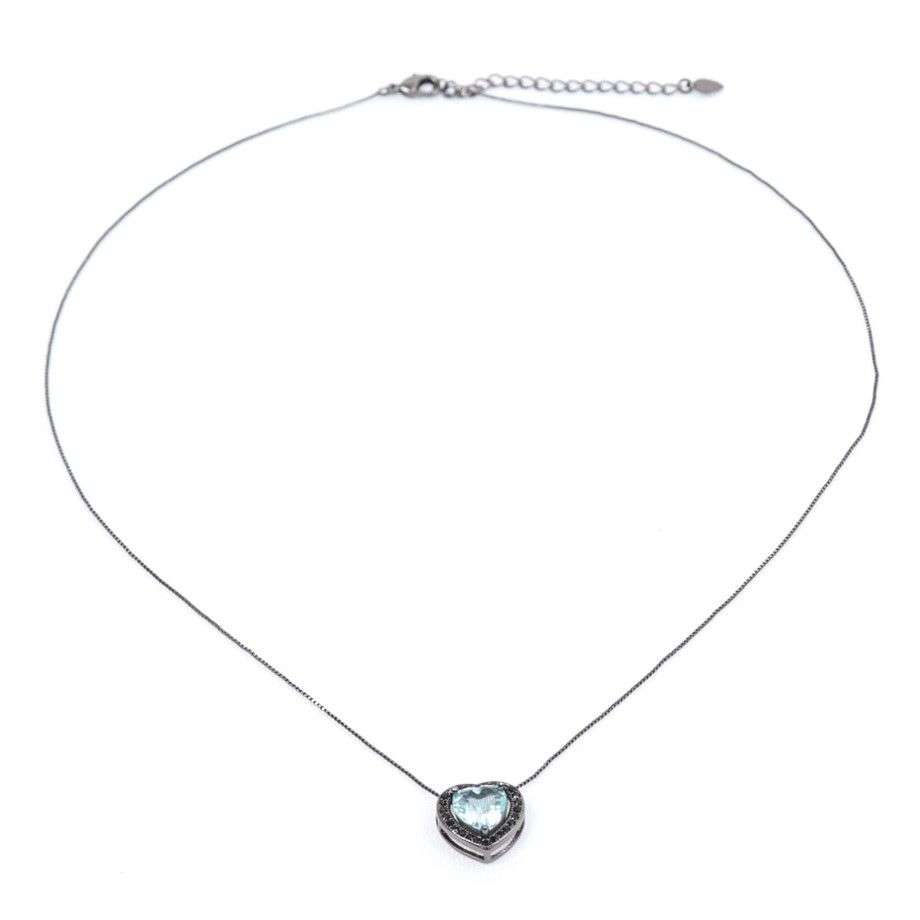 Colar Ródio Negro Pingente Coração com Zircônia Negra e Aquamarine