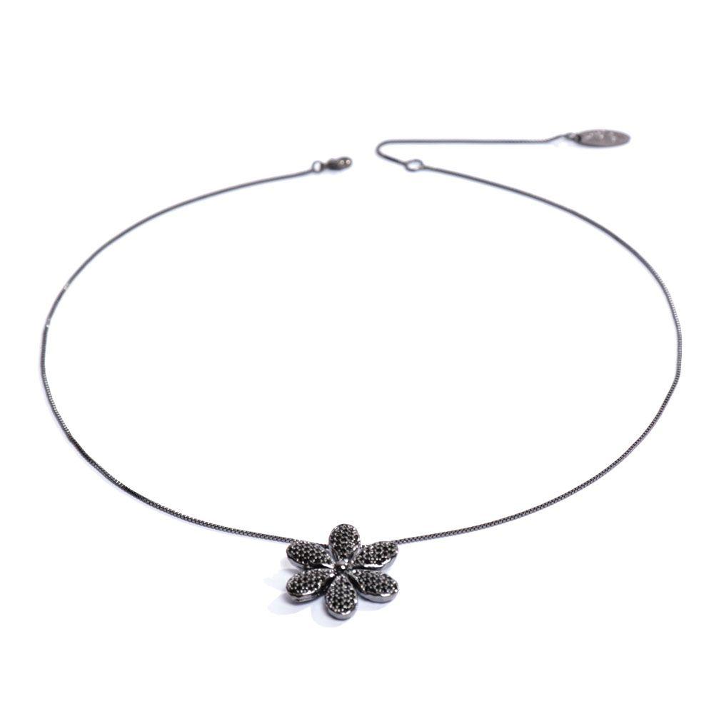 Colar Ródio Negro pingente Flor Cravejada 6 pétalas