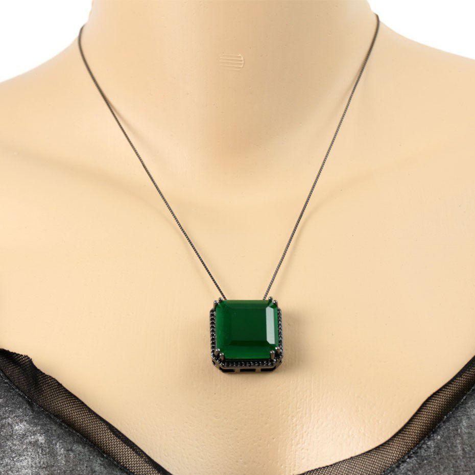 Colar Ródio Negro Pingente Fusion Verde