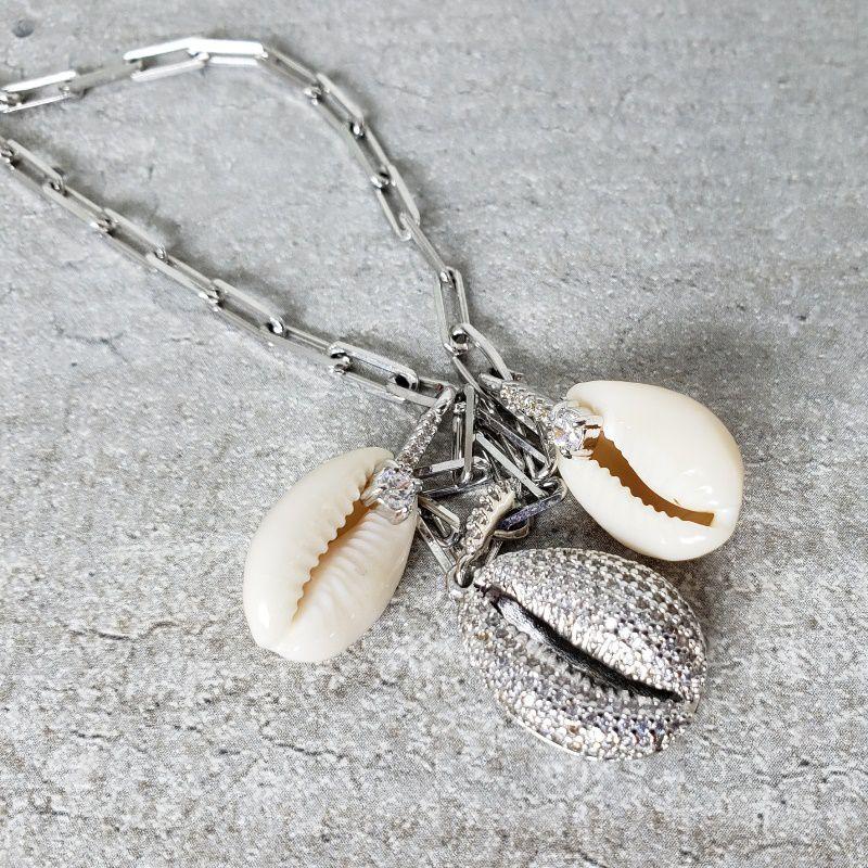 Gargantilha Ródio Branco Concha Cravejada