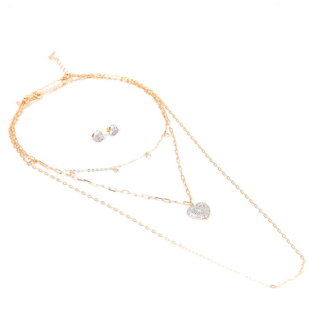 Kit Colar 3 Correntes Banho Ouro Pingente e Brinco Coração com Zircônia Branca