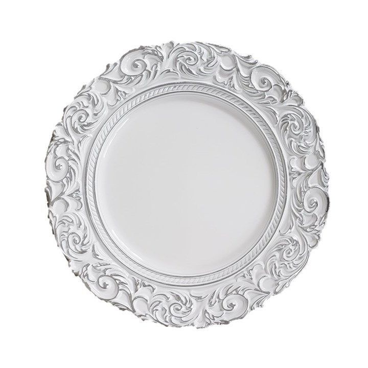 Kit Sousplat Branco com Decoração 4 peças
