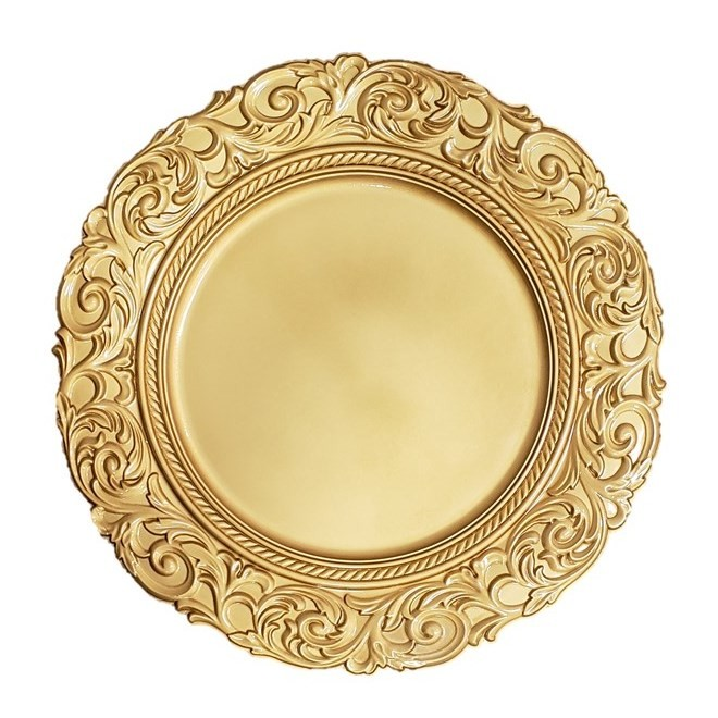 Kit Sousplat Redondo Dourado 4 peças