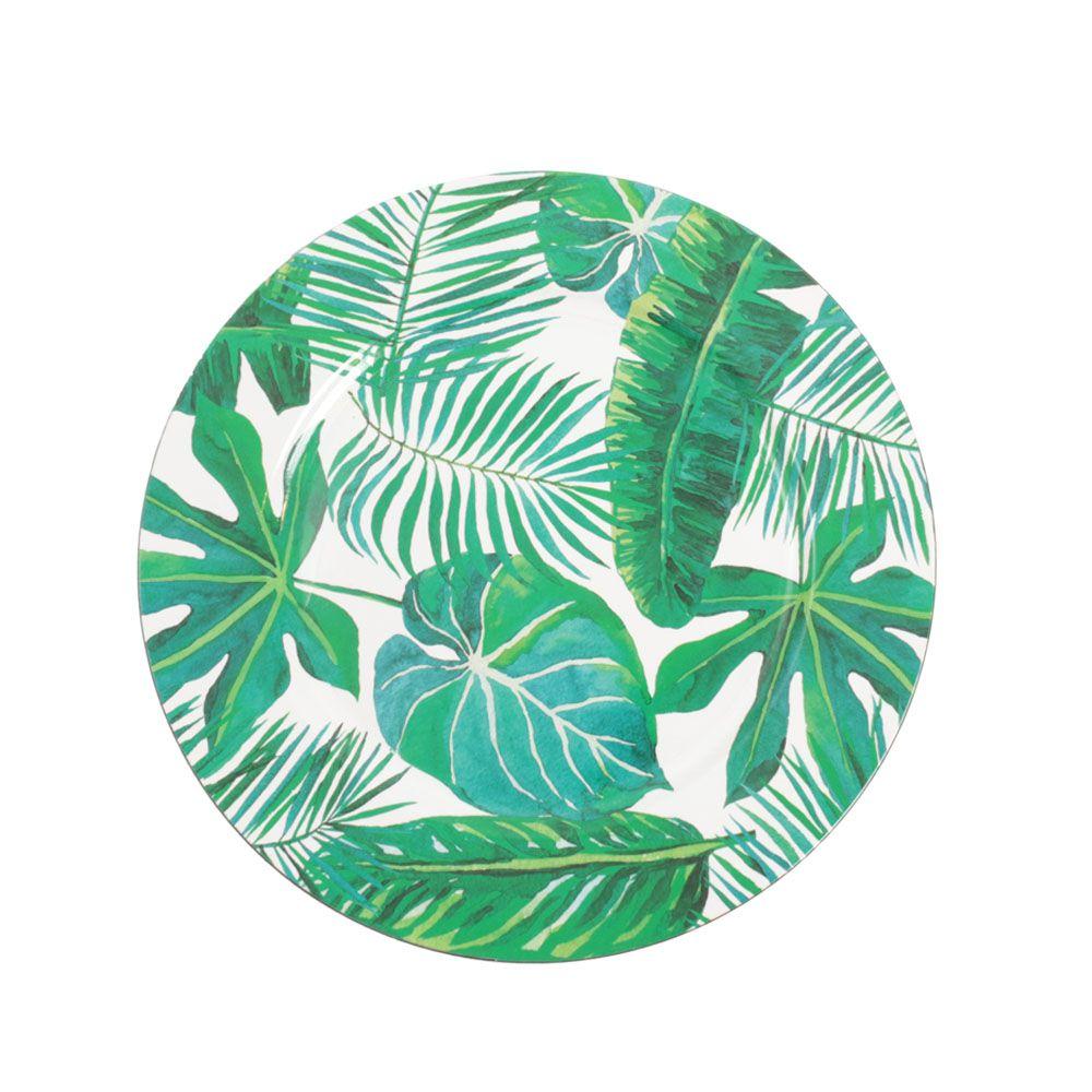 Kit Sousplat Redondo Estampado com Folhas - 4 peças