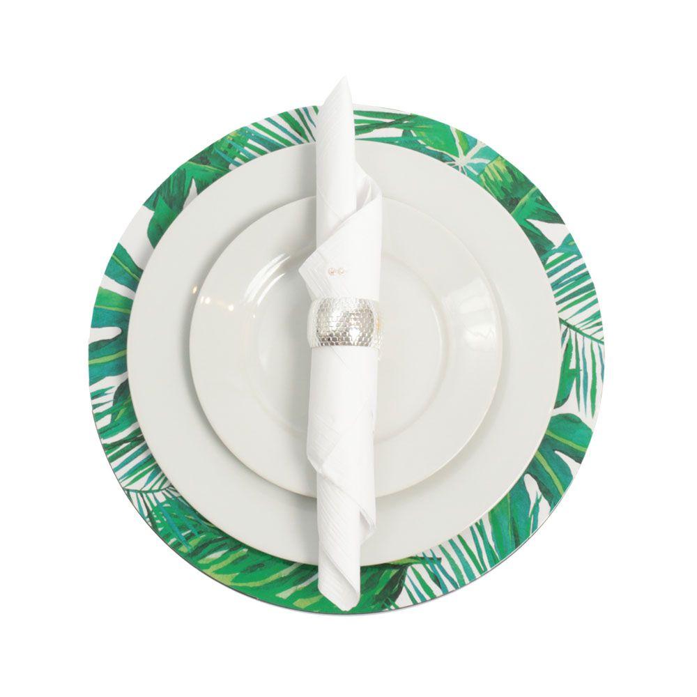 Kit Sousplat Redondo Estampado com Folhas 4 peças