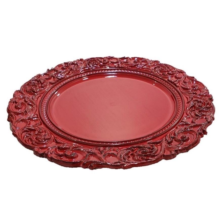 Kit Sousplat Redondo Vermelho 4 peças