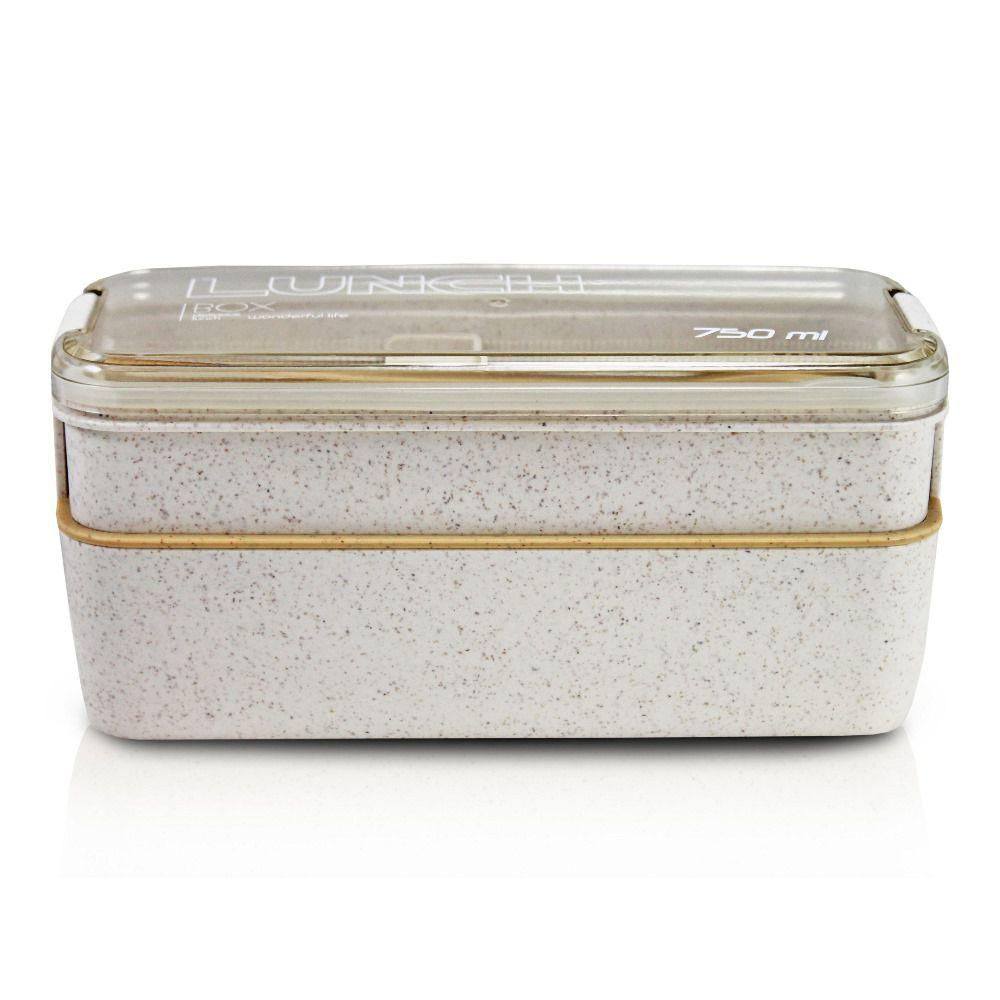 Marmita Ecológica para Alimentos com 2 andares 750 ml com talheres