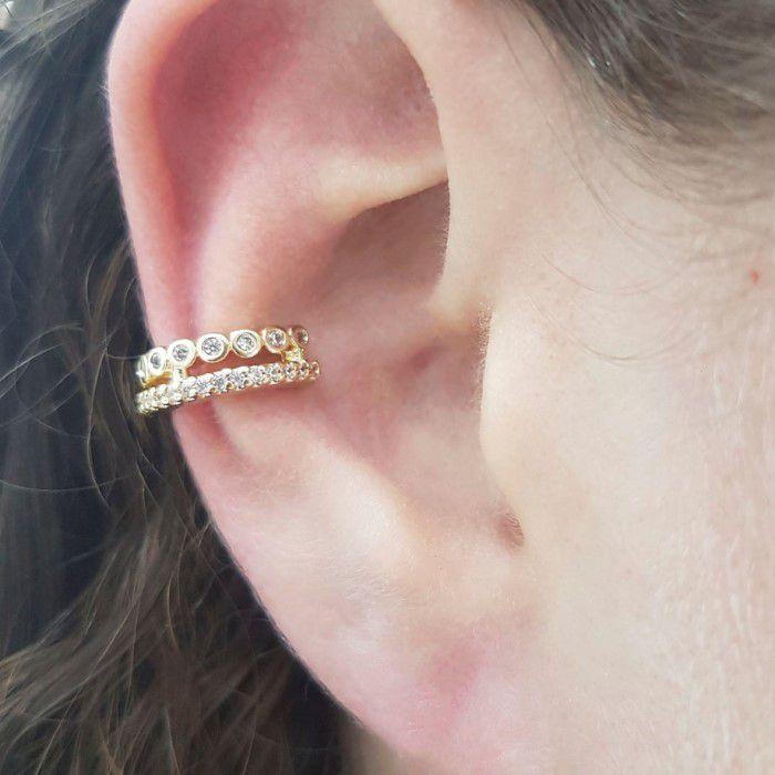 Piercing Fake Banho Ouro com Zircônia Branca