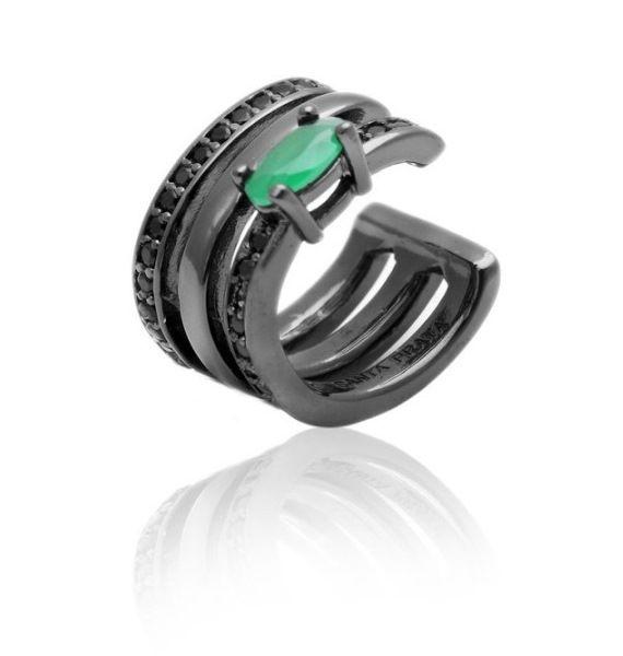 Piercing Fake Ear Bracelet 3 Linhas com Cristal Esmeralda