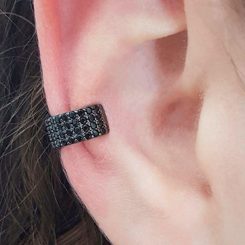Piercing Fake Ear Bracelet Cravejado em Zircônia Negra