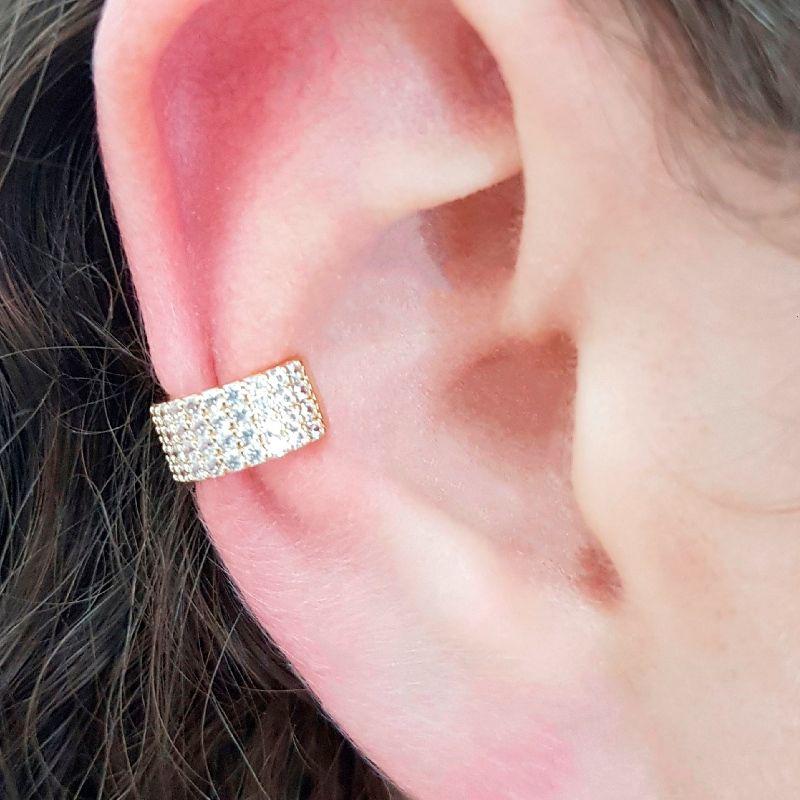 Piercing Fake Ear Bracelet em Zircônia Branca
