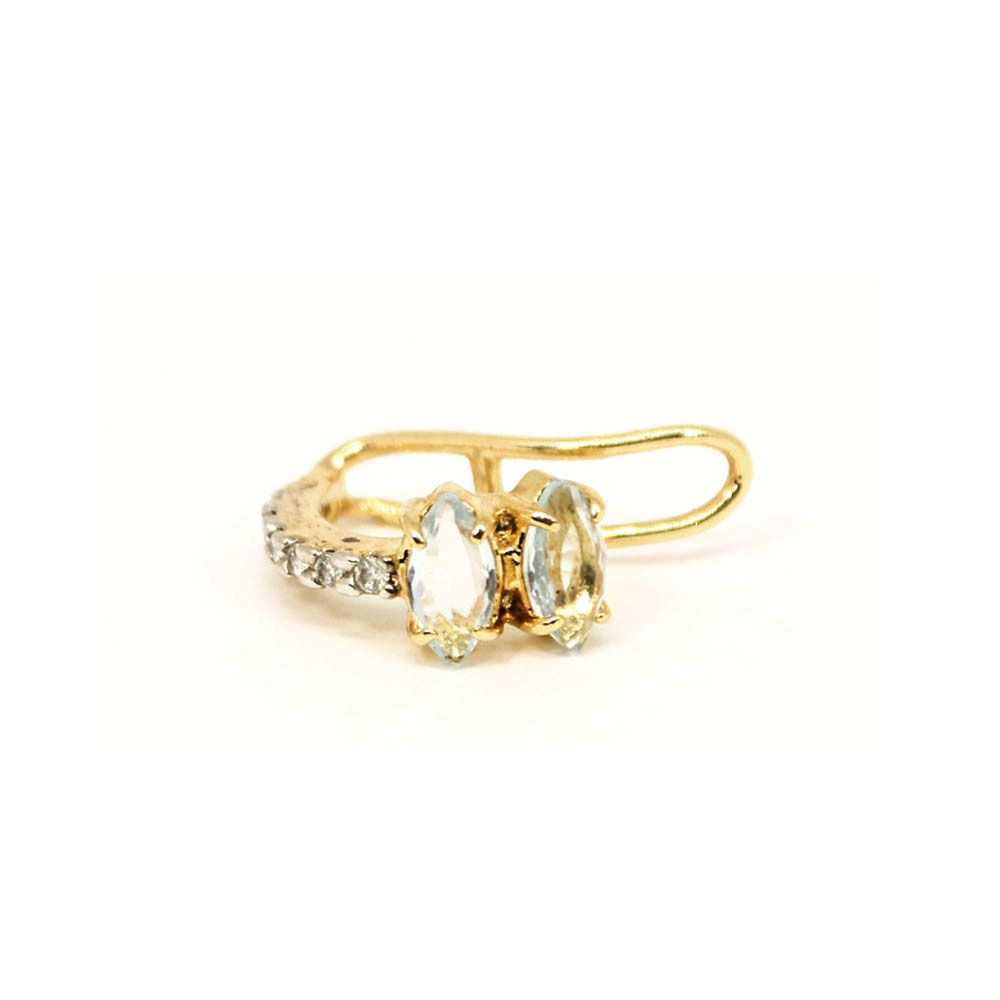 Piercing Fake Oval Banho Ouro Pedra Aquamarine