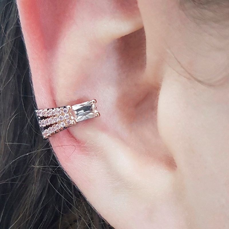 Piercing Fake Retângulo Cristal Morganita e Zircônia Rosa