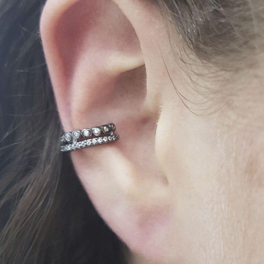 Piercing Fake Ródio Negro com Zircônia Branca
