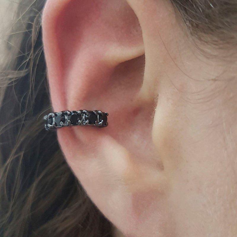 Piercing Fake Ródio Negro com Zircônia Negra