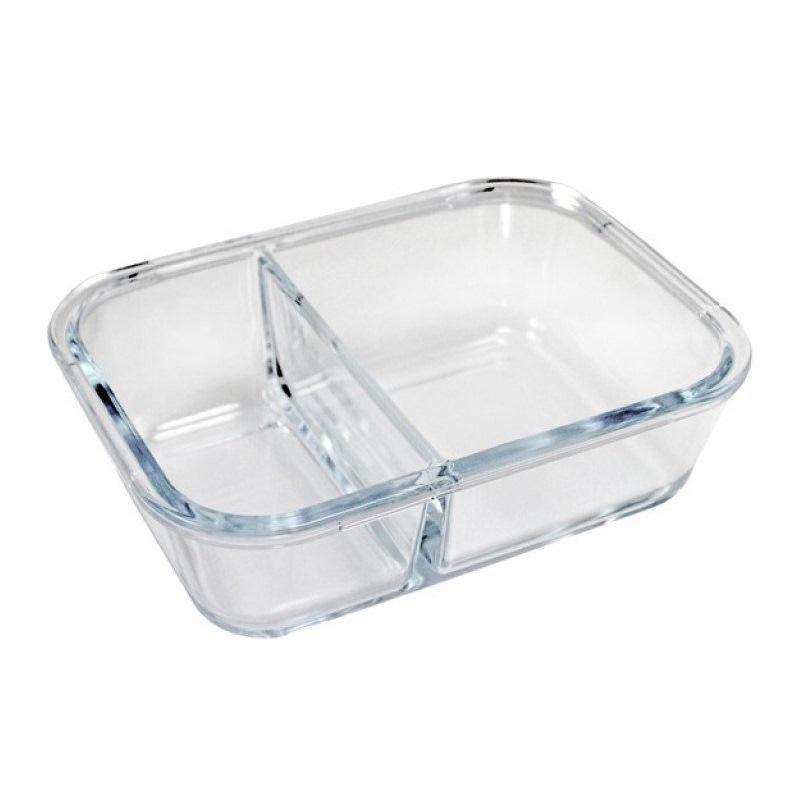 Pote Marmita de Vidro Hermético para Alimentos com 2 Compartimentos 800 ml