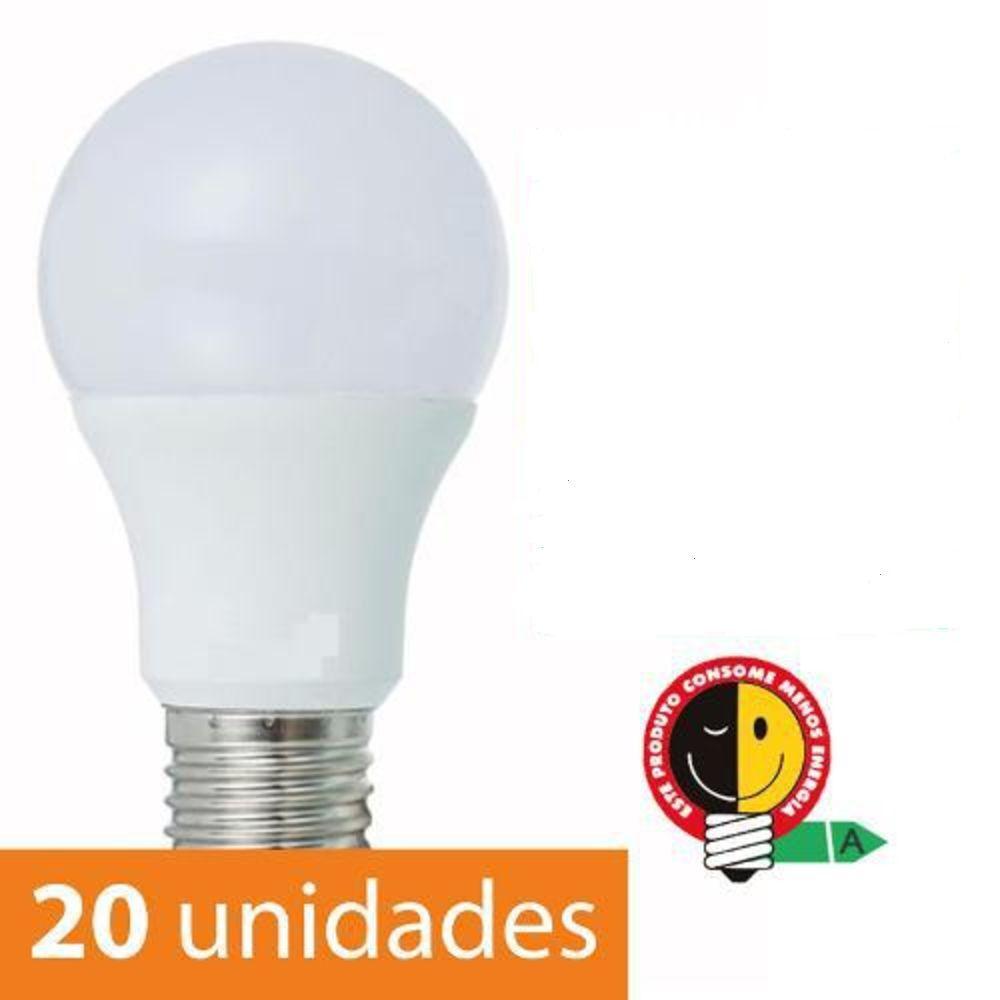 Kit 20 Lampadas Led 9w Bulbo 3000k Branco Quente E27 autodimerizavel