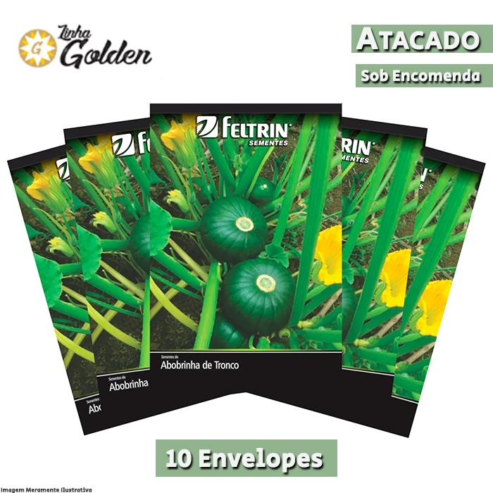 10 Envelopes - Sementes de Abobrinha Tronco Redonda Verde - Atacado - Feltrin - Linha Golden