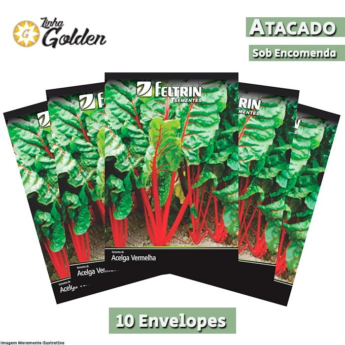 10 Envelopes - Sementes de Acelga Mérida - Atacado - Feltrin - Linha Golden