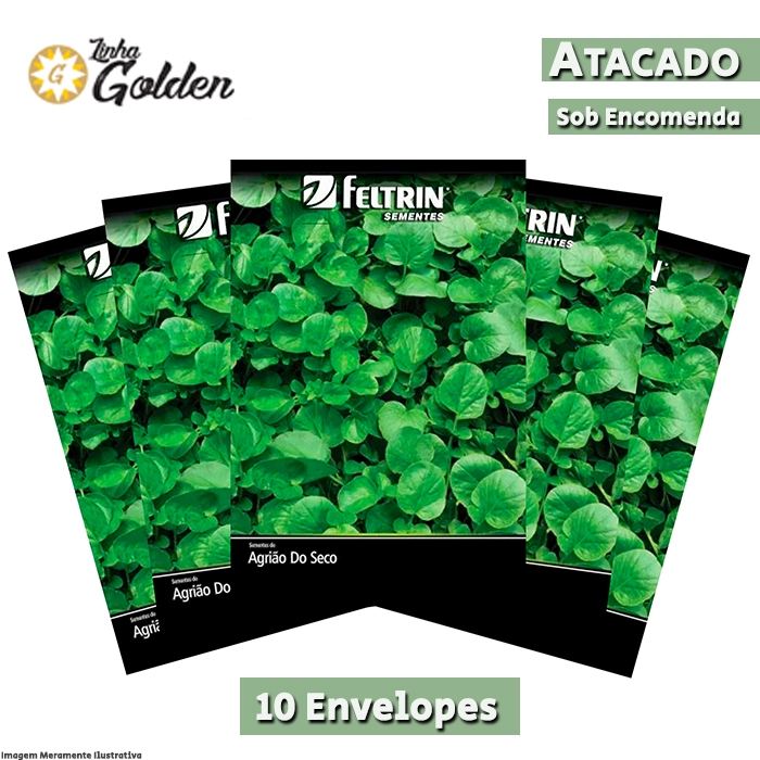 10 Envelopes - Sementes de Agrião Topázio - Atacado - Feltrin - Linha Golden