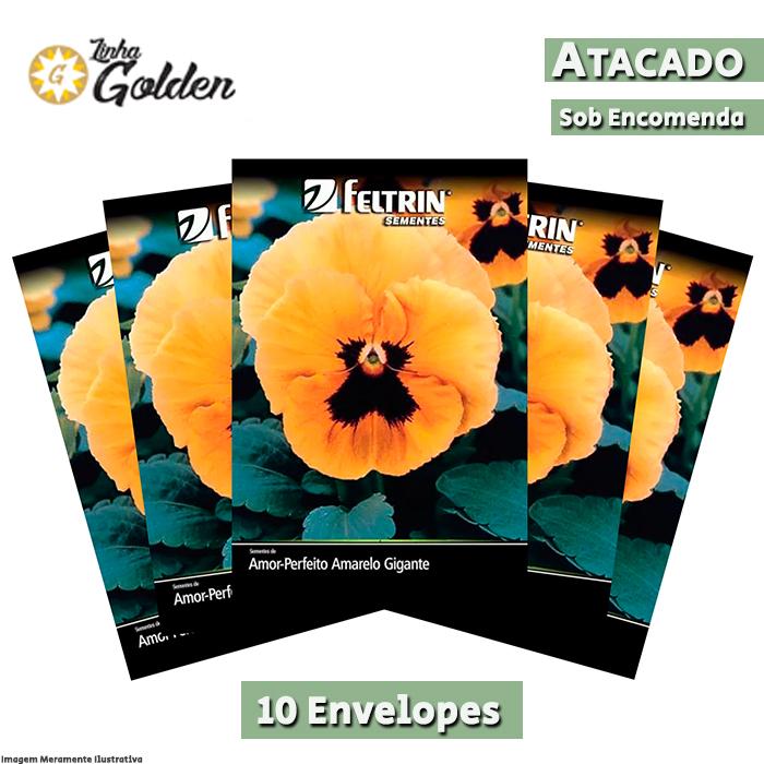 10 envelopes - Sementes de Amor-Perfeito Amarelo Gigante Suíço - Atacado - Feltrin - Linha Golden