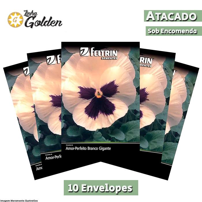 10 envelopes - Sementes de Amor-Perfeito Branco Gigante Suíço com Máscara - Atacado - Feltrin - Linha Golden