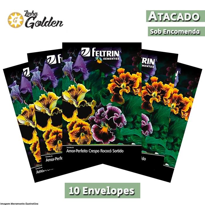 10 envelopes - Sementes de Amor-Perfeito Crespo Rococó Sortido - Atacado - Feltrin - Linha Golden