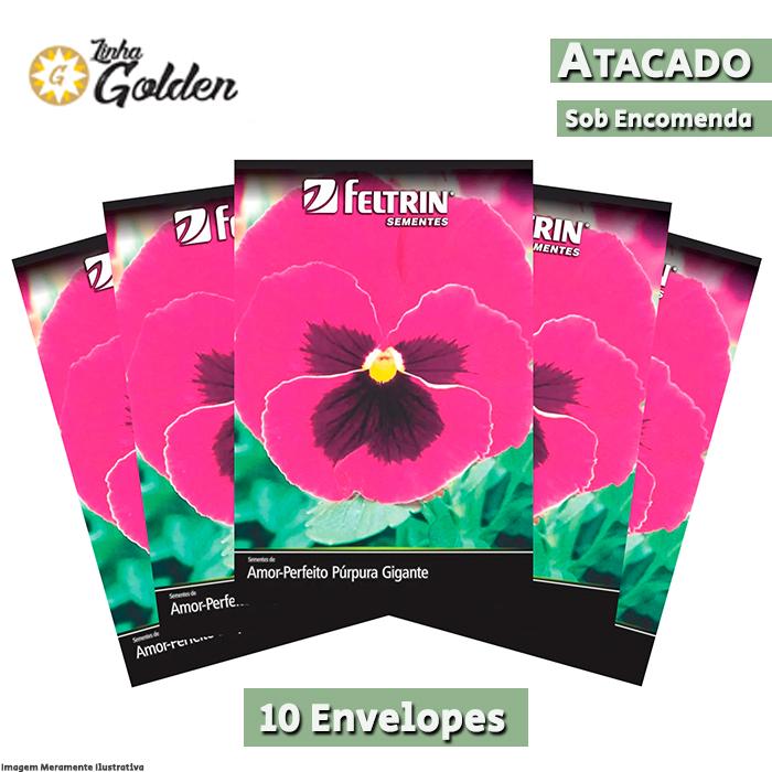 10 envelopes - Sementes de Amor-Perfeito Púrpura Gigante Suíço - Atacado - Feltrin - Linha Golden