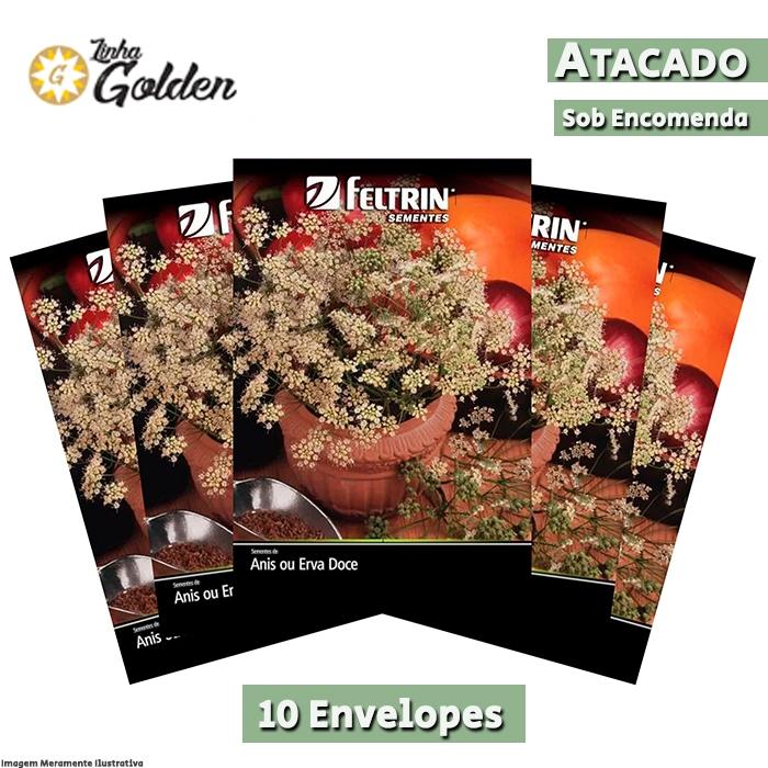 10 Envelopes - Sementes de Anis ou Erva-Doce - Atacado - Feltrin - Linha Golden