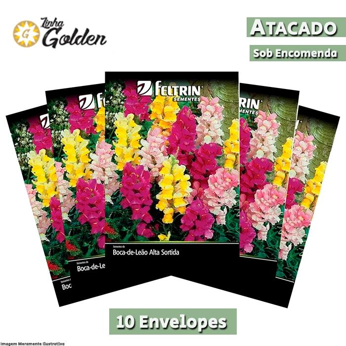 10 Envelopes - Sementes de Boca-de-Leão Alta Sortida - Atacado - Feltrin - Linha Golden