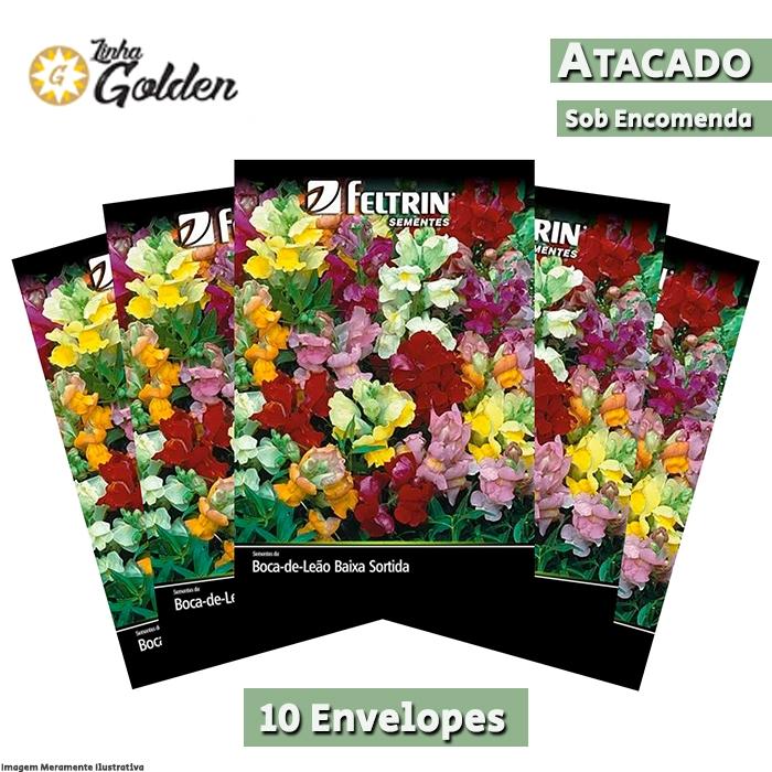 10  Envelopes - Sementes de Boca-de-Leão Baixa Sortida - Atacado - Feltrin - Linha Golden