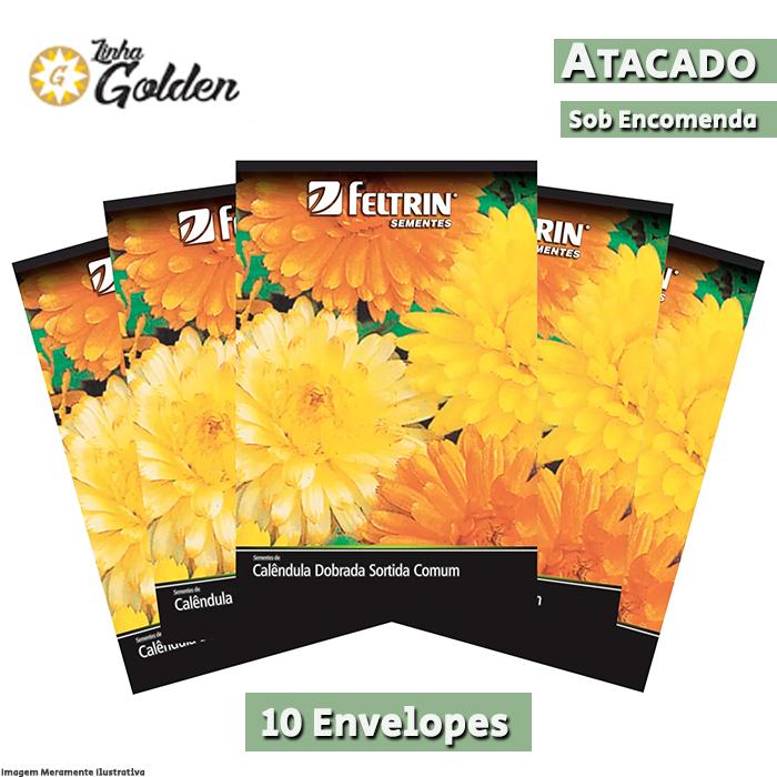 10  Envelopes - Sementes de Calêndula Dobrada Sortida Comum - Atacado - Feltrin - Linha Golden