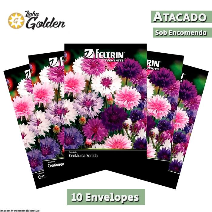 10 Envelopes - Sementes de Centáurea Sortida - Atacado - Feltrin - Golden