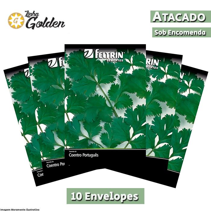 10 Envelopes - Sementes de Coentro Pacífico - Atacado - Feltrin - Linha Golden