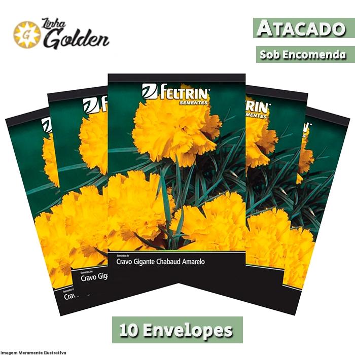 10 Envelopes - Sementes de Cravo Chabaud Gigante Dobrado Amarelo - Atacado - Feltrin - Linha Golden