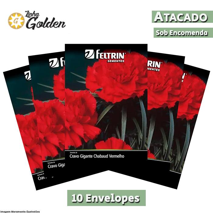10  Envelopes - Sementes de Cravo Gigante Chabaud Vermelho - Atacado - Feltrin - Linha Golden