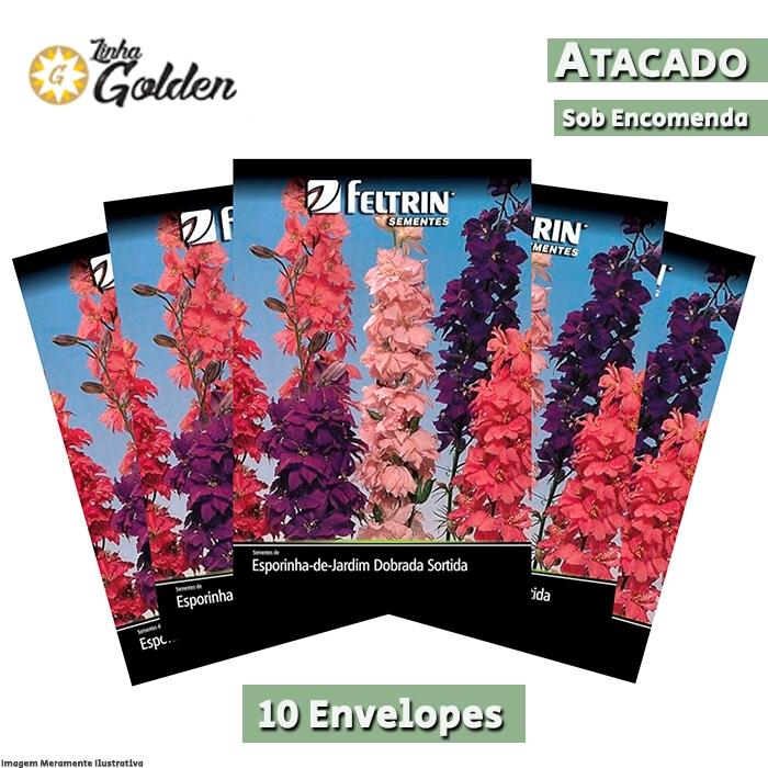 10 Envelopes - Sementes de Esporinha-de-Jardim Dobrada Sortida - Atacado- Feltrin - Linha Golden