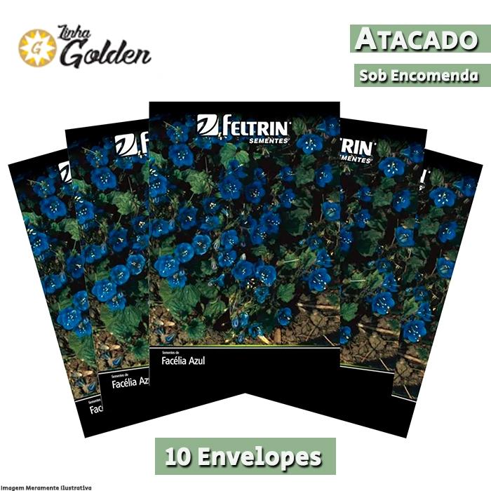 10 Envelopes - Sementes de Facélia Azul - Atacado - Feltrin - Linha Golden