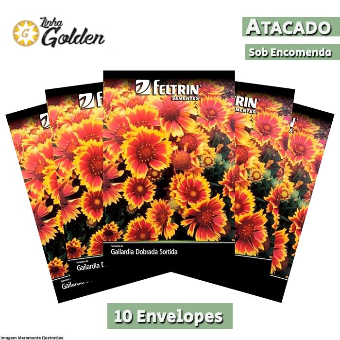 10 Envelopes - Sementes de Gailardia Dobrada Sortida - Atacado - Feltrin - Linha Golden