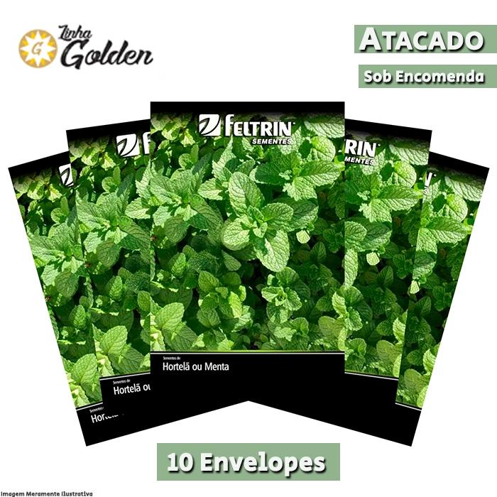 10 Envelopes - Sementes de Hortelã ou Menta - Atacado - Feltrin - Linha Golden